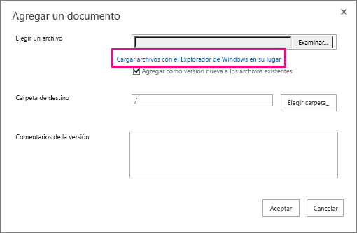 En su lugar, seleccione en Cargar archivos con el Explorador de Windows.