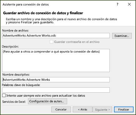 Asistente para la conexión de datos > Guardar archivo de conexión de datos y finalizar
