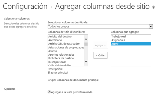 Agregar página de columna existente con 3 seleccionados