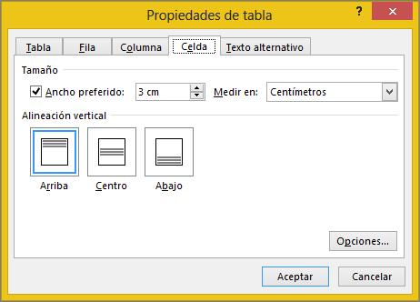 Ficha de la celda en el cuadro de diálogo Propiedades de tabla