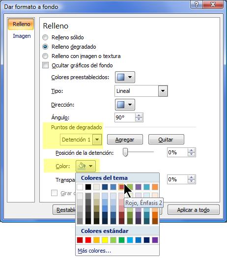 Para usar una combinación de degradado de color personalizado, seleccione un punto de degradado y, a continuación, elija un color.