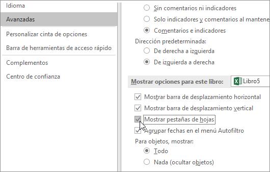 Casilla Mostrar pestañas de hojas en Opciones de Excel