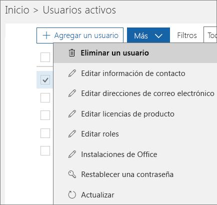 Elimine un usuario del Centro de administración de Office 365.