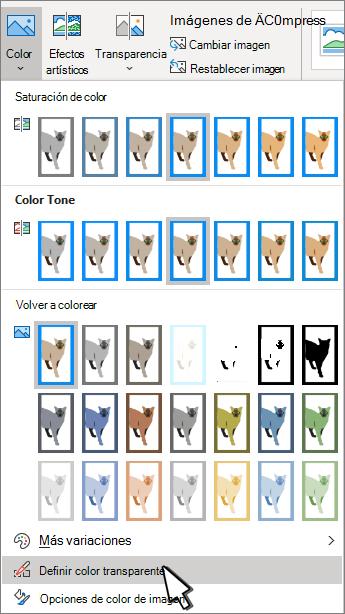 Menú Color con Establecer transparencia seleccionado.