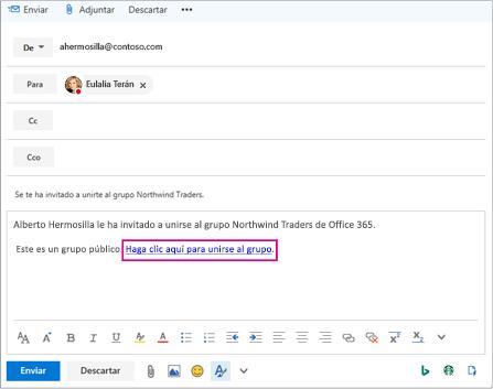 Enviar por correo electrónico con el vínculo de invitación a unirse a grupo