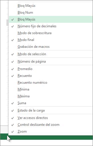 Haga clic con el botón secundario en la barra de estado para personalizar