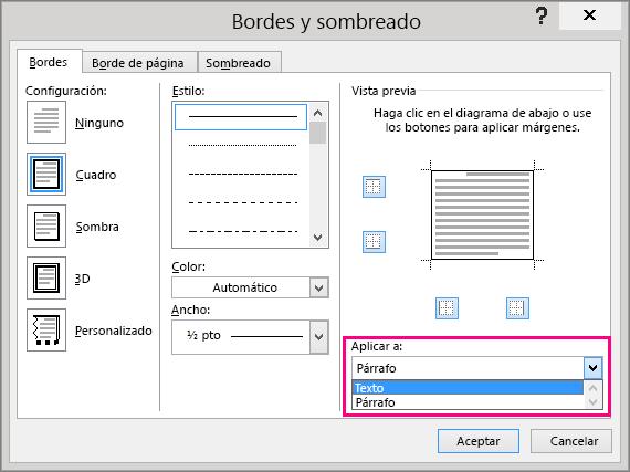 Las opciones de Aplicar al cuadro están resaltadas en el cuadro Bordes y sombreado.