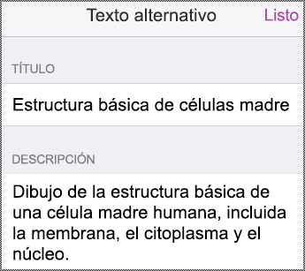 Cuadro de diálogo Texto alternativo en dispositivos iPhone.