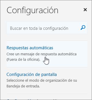 Captura de pantalla de la pantalla de Ayuda con la opción de respuesta automática seleccionada.