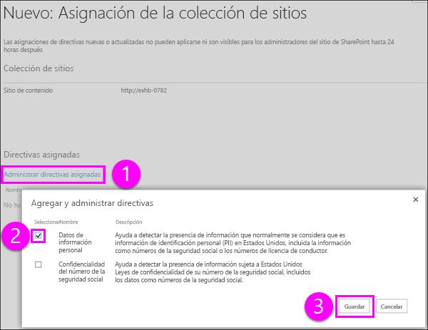 Agregar página y administrar directivas
