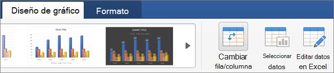 Haga clic en la pestaña Diseño de gráfico y, después, seleccione Cambiar fila o columna.