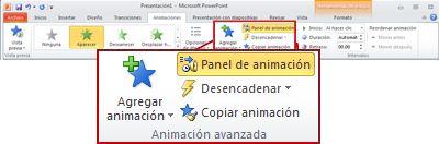 Grupo Animación avanzada en la ficha Animación de la cinta de PowerPoint2010.
