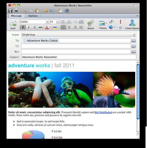 Outlook que muestra un correo electrónico con formato de texto enriquecido