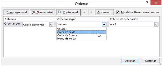 En Ordenar según, seleccione una opción