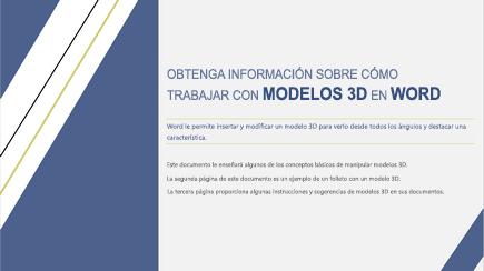 Captura de pantalla de una portada de plantilla de Word en 3D