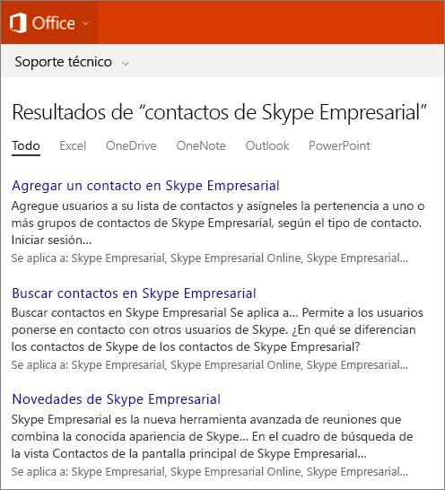 Captura de pantalla de los resultados de una búsqueda de Contactos de Skype Empresarial en el sitio de soporte técnico de Office.