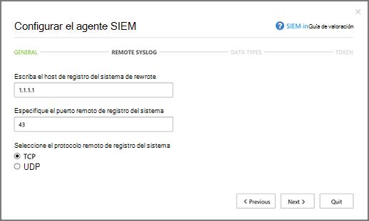Especificar el host remoto de registro del sistema y el número de puerto de registro del sistema
