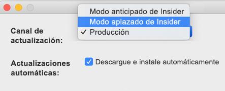 Imagen de Microsoft AutoUpdate para Mac -> Ventana de Preferencias que muestra las opciones de uso lento y rápido de insider.