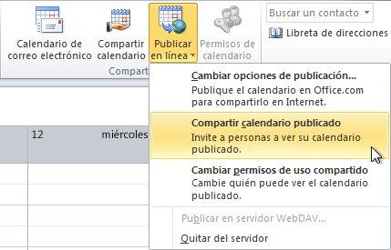 Comando Compartir calendario publicado en la cinta de opciones