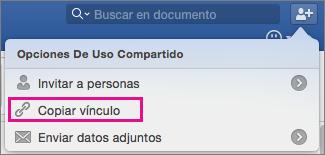 Para copiar un vínculo al documento en el Portapapeles, haga clic en Copiar vínculo.