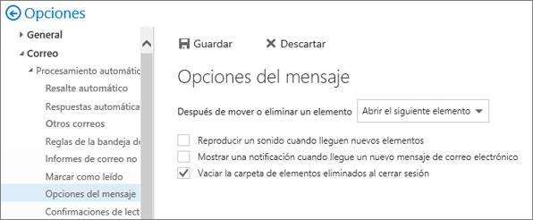 Una captura de pantalla muestra el cuadro de diálogo Opciones de mensaje en el cual está seleccionada la casilla de verificación para la carpeta Vaciar elementos eliminados al cerrar sesión.