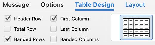 Pestaña Diseño de tabla en Outlook para Mac.