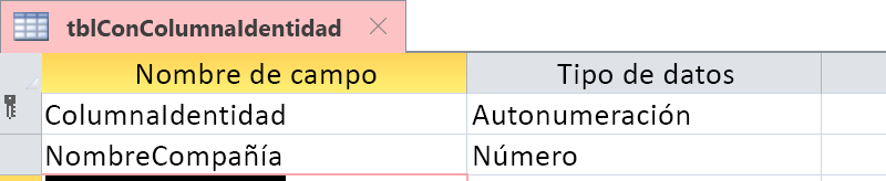 Muestra que la columna Identidad se identifica como un campo Autonumeración