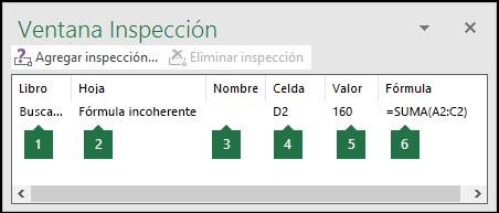 La ventana Inspección permite supervisar fácilmente las fórmulas usadas en una hoja de cálculo