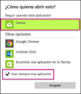Seleccione la aplicación de correo electrónico que quiera usar.