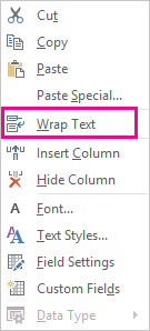 Comando Ajustar texto del menú contextual
