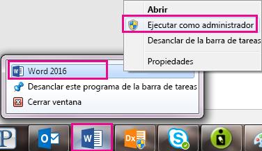 Haga clic en el icono de Word y, a continuación, haga clic en Word para ejecutar el programa como administrador.