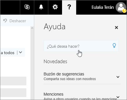 Captura de pantalla del panel de Ayuda en Outlook en la Web, que muestra el cuadro Información.