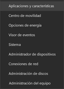 Captura de pantalla del menú Inicio con las aplicaciones y características