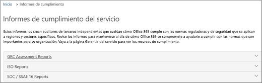 Muestra la página de garantía del servicio: Informes de cumplimiento del servicio.