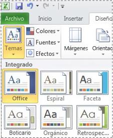 Galería de temas en Excel 2010