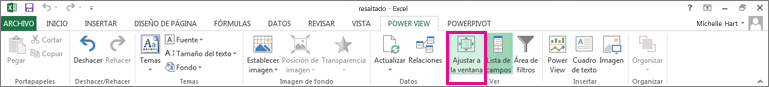 Cambio de tamaño de Power View