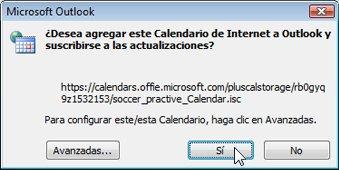Cuadro de diálogo para agregar un Calendario de Internet a Outlook