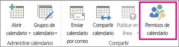 Botón Calendario de permisos en la pestaña Inicio de Outlook 2013