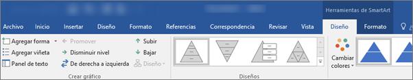 Pestañas herramientas de SmartArt, diseño y formato