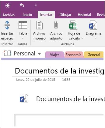 Captura de pantalla de cómo insertar un nuevo diagrama de Visio en OneNote 2016.