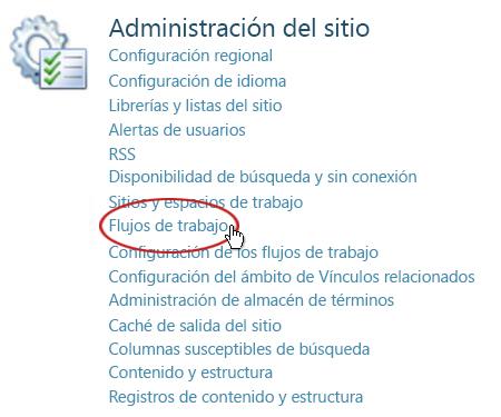 Vínculos Flujos de trabajo bajo el encabezado Administración del sitio