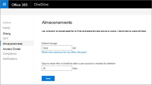 La ficha almacenamiento del centro de administración de OneDrive