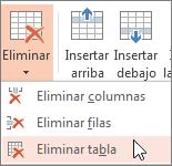 Eliminación de una tabla