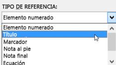Diálogo de referencia cruzada con tipos de referencia mostrados