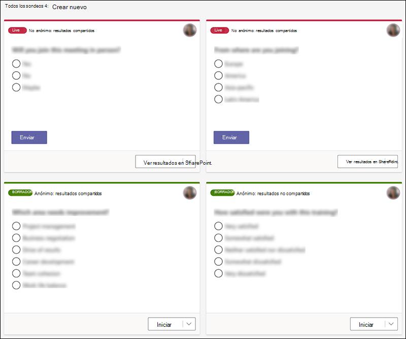 Sondeos de Microsoft Forms creados en Teams en varios Estados, como en vivo y borrador