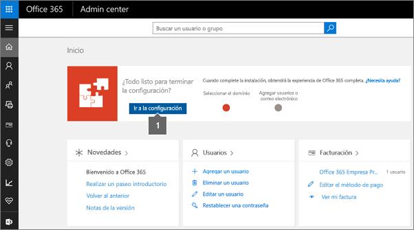 Haga clic en Configuración en la página de administrador de Office 365