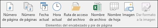Pestaña de la cinta de opciones de diseño de Encabezados y pies de página