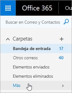 Captura de pantalla del cursor desplazándose sobre el botón Más en el panel de navegación de Outlook en la Web.