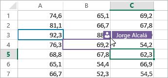 Diferentes celdas coloreadas para diferentes usuarios, el cursor sobre el icono Personas y se muestra el nombre