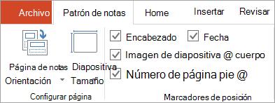 Casillas de verificación del marcador de posición en la ficha patrón de notas